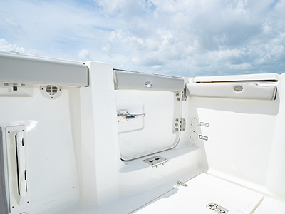 Hull side door on the Pursuit S 358 Sport Center Console boat.