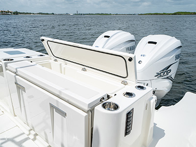 The stern of the Pursuit S 358 Sport Center Console boat with twin Yamaha Engines.