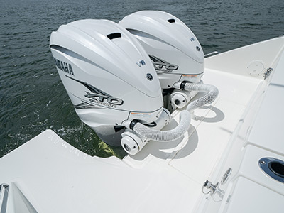 Twin Yamaha Engines on transom of the Pursuit S 358 Sport Center Console boat.