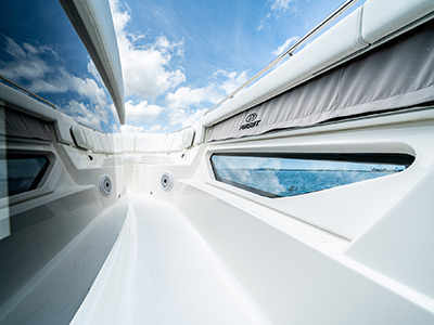 Detail of S 378 innovative hull side windows that allow natural light into the cabin.