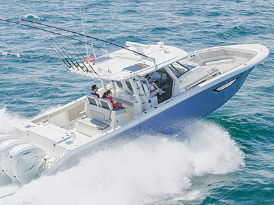 Aerial profile view of Gulf Stream Blue S 428 Sport running right with hull side window and second row of innovative retractable seats.