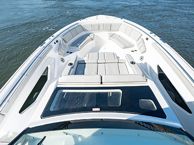 Aerial overhead view of S 428 Bow with ample seating and storage.