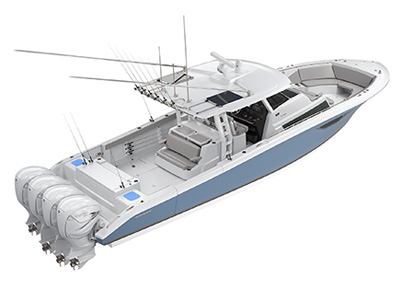 Aerial profile of S 378 Center Console Sport Boat running right offshore.