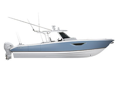 Profile of S 378 Center Console Sport Boat running right offshore.