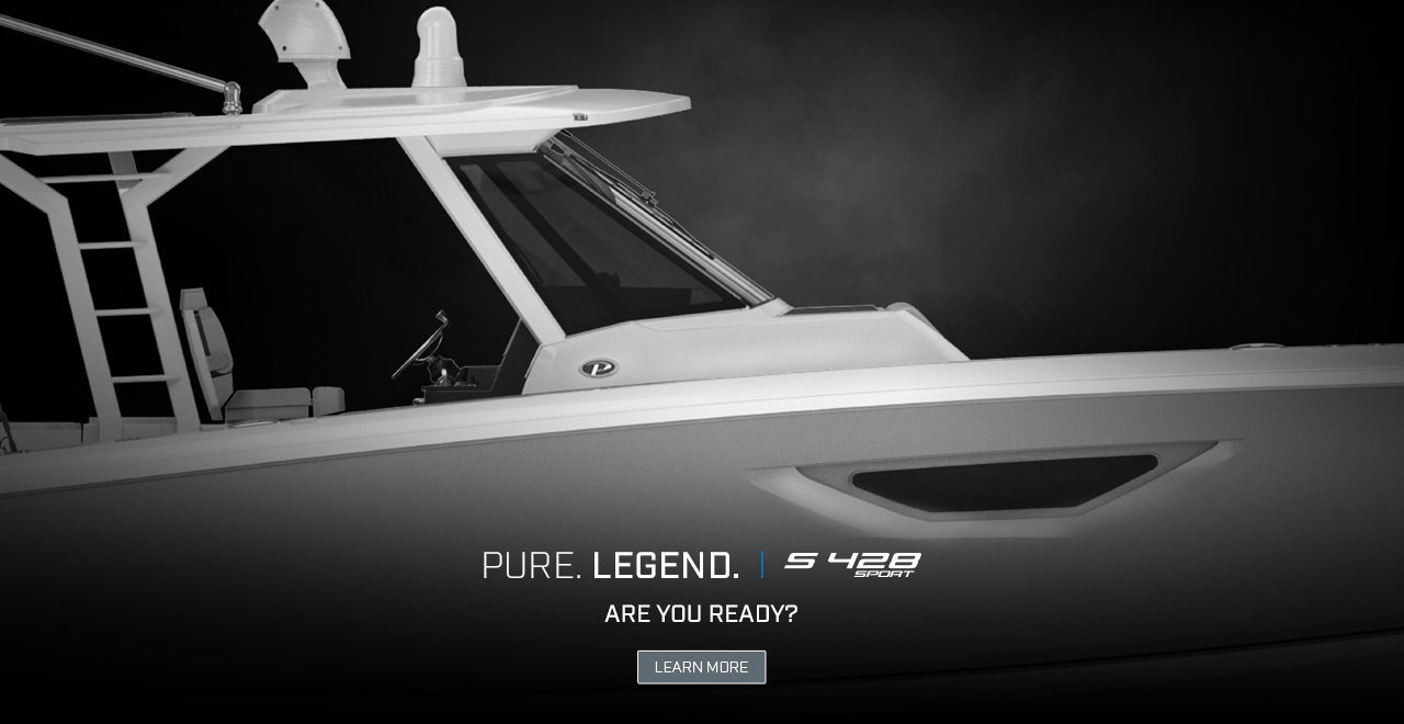 Dramatic rendering of the ALL NEW S 428 SPORT. Text over photo. PURE. LEGEND. | S 428 Sport. Are you ready? Learn More