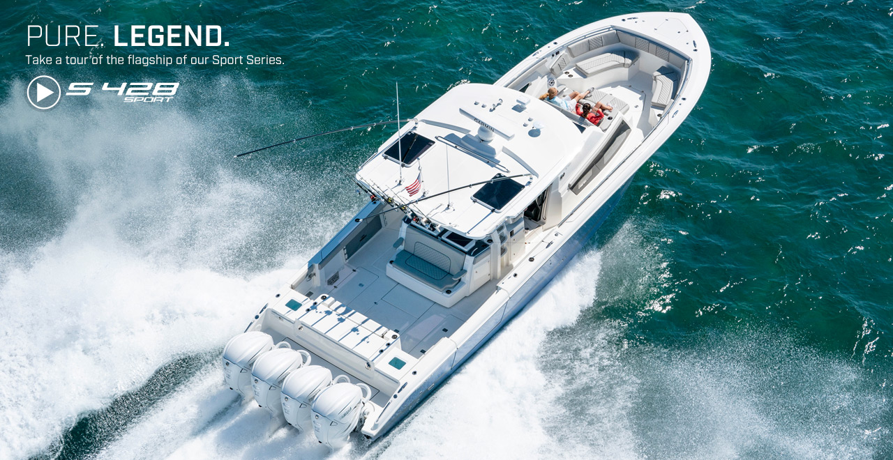 Aerial photo of Pursuit S 428 running. Text over photo. PURE. LEGEND. Take a tour of the flagship of our Sport Series.