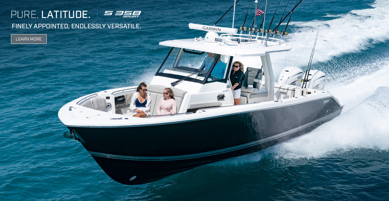 Photo of S 358 Sport running left with text over top: PURE. LATITUDE. S 358 Finely Appointed, Endlessly Versatile. Learn More.