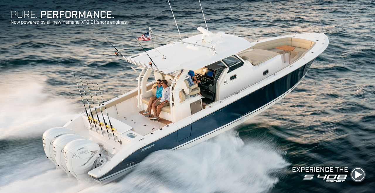 Pure. Performance. Now powered by all new Yamaha XTO Offshore engines. Experience the S 408 sport. Watch video now.
