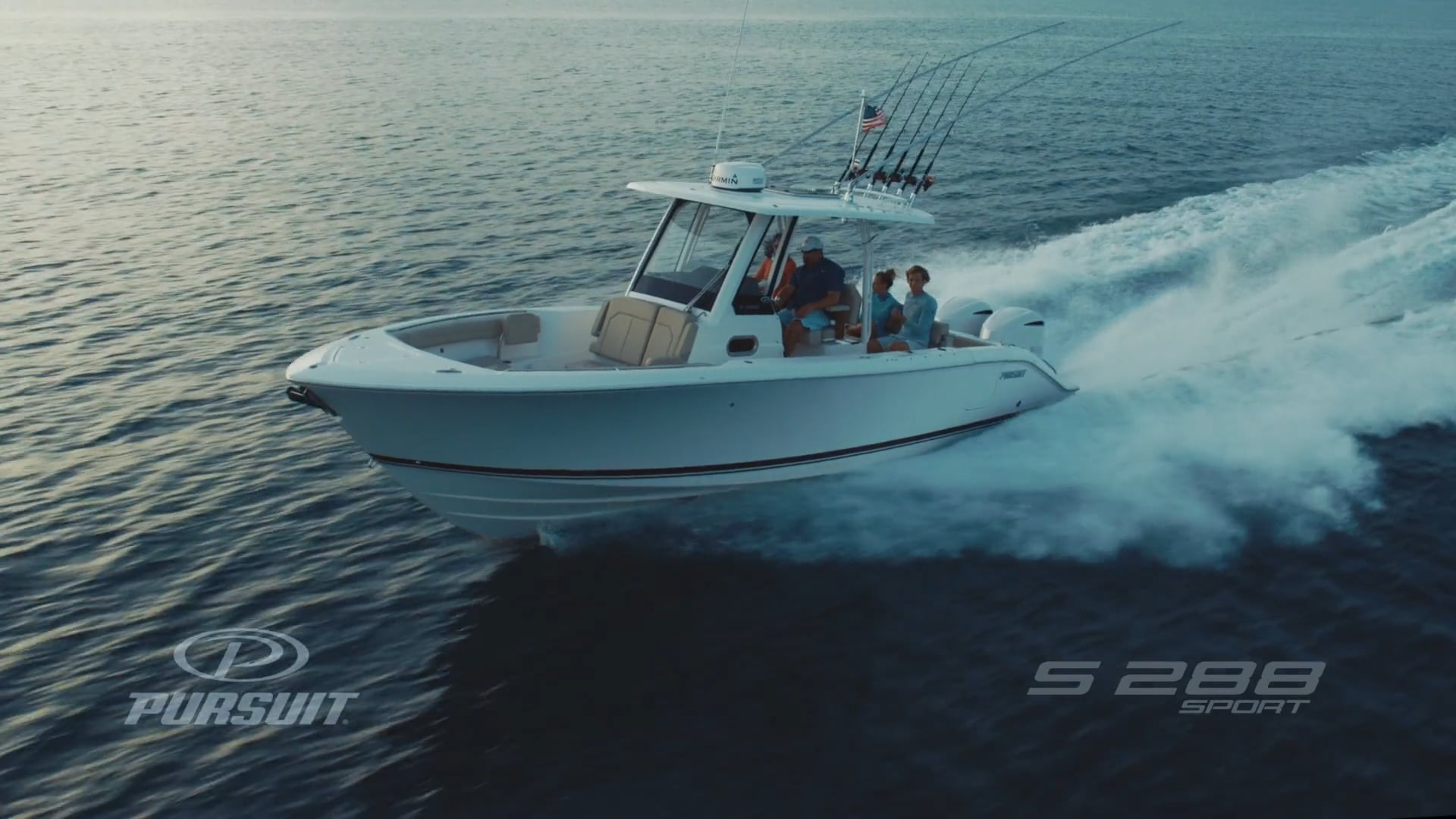 Aerial profile view of S 288 Sport boat running left.