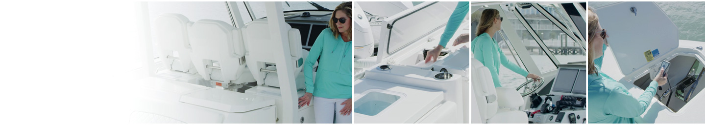 Background image of sales person showing boat features