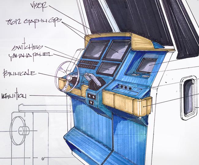Draft drawling of a Pursuit boat Helm in the concept process.